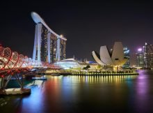 beautiful view of Marina Bay at night
